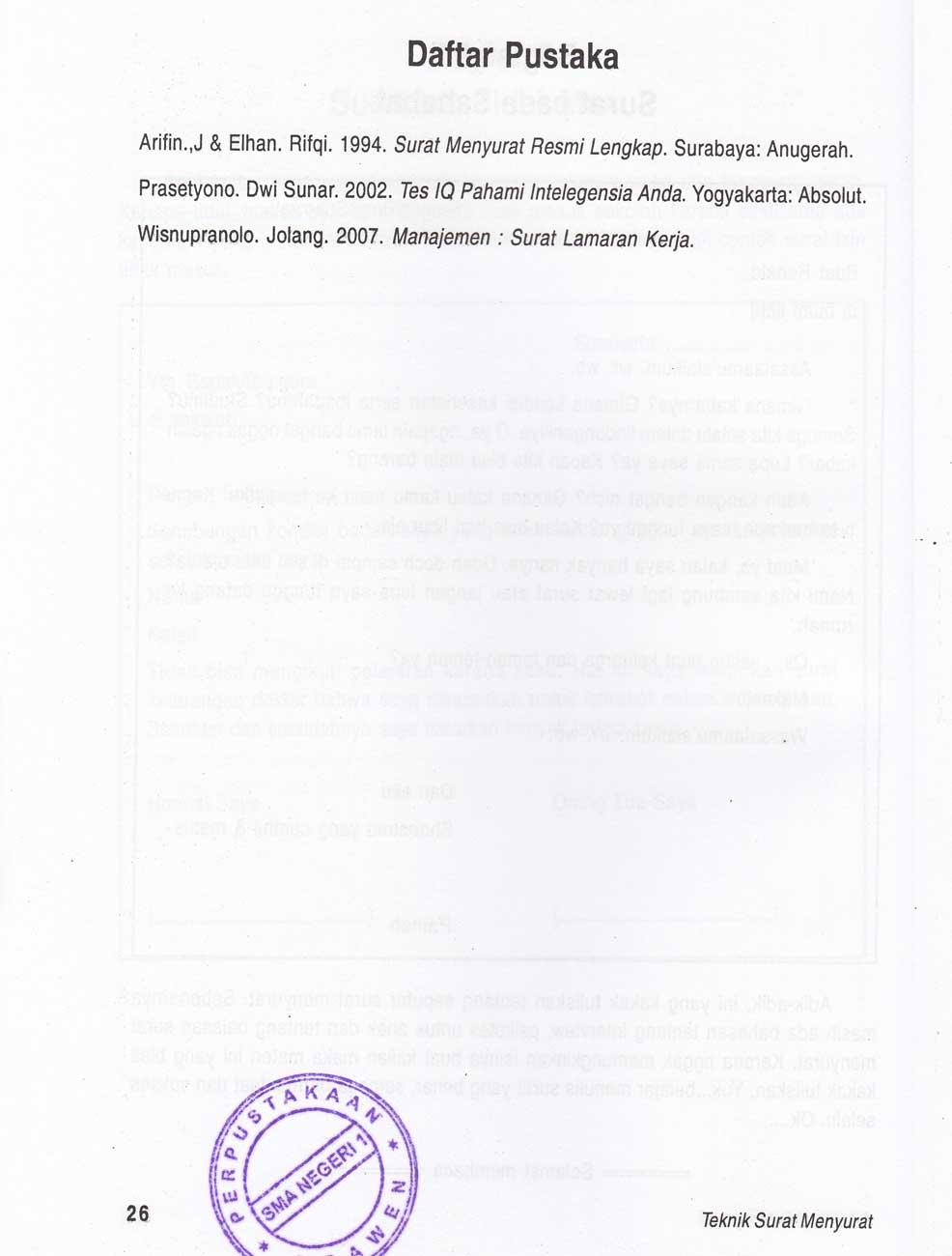 E Paper Perpustakaan Sman 1 Blora Teknik Surat Menyurat